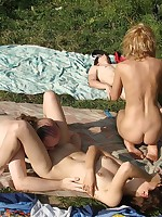 Hardcore sex orgy at the beach