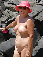 Sexy grannies in hats naked on beach - Chubby Naturists