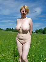 Young fat women a bit shy to pose nude outdoors - Chubby Naturists
