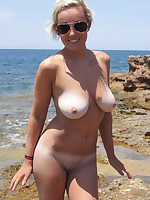 Photos of fat mature nudist females on a shore - Chubby Naturists