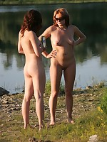 Naked girls at the shore
